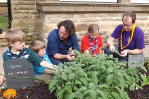 Gardening expert Diarmuid Gavin with some Calderdale scouts
